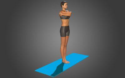 Garudasana (variation 2) straight legs and catching shoulder blades