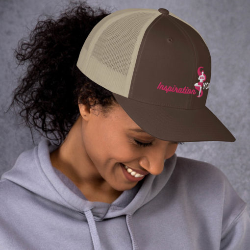 Brown and Khaki Trucker Cap with Embroidered Tree Yoga Pose side2