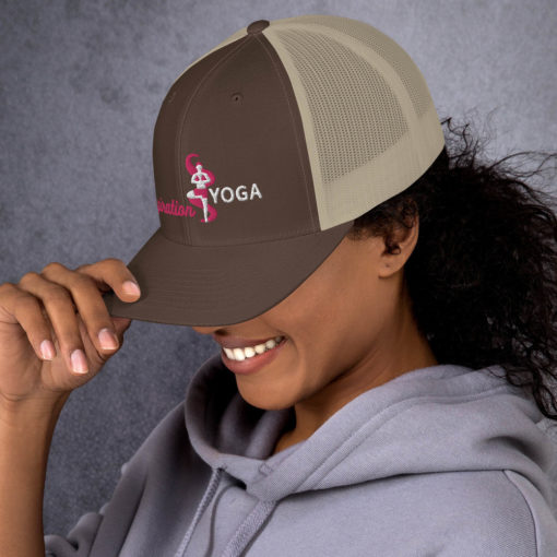 Brown and Khaki Trucker Cap with Embroidered Tree Yoga Pose side1