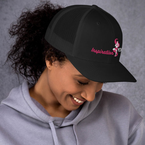 Black Trucker Cap with Embroidered Tree Yoga Pose side2