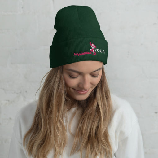 Cuffed Beanie with Embroidered Tree Yoga Pose