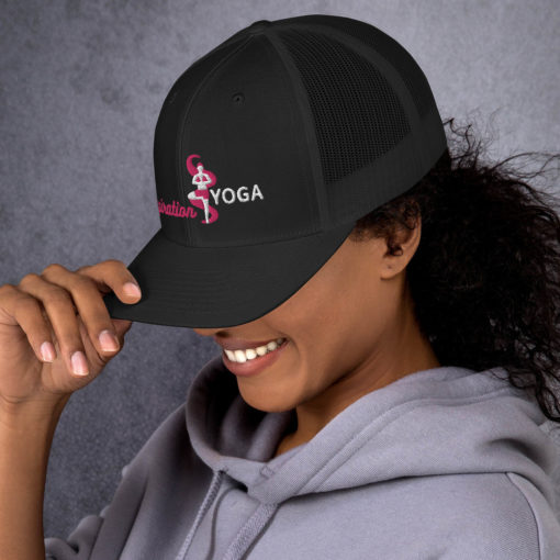 Black Trucker Cap with Embroidered Tree Yoga Pose side1