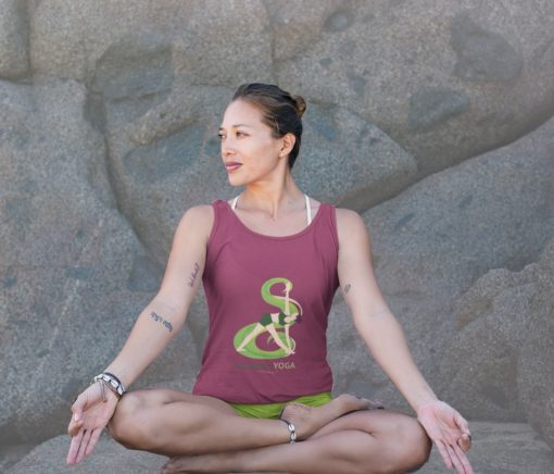 Red Yoga Inspiration Shirt Revolved Triangle Pose