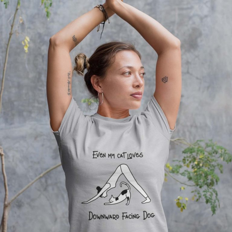 Grey Yoga Shirt with funny cat message and Downward Facing Dog