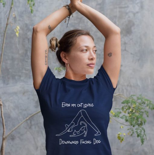 Navy Yoga Shirt with funny cat message and Downward Facing Dog