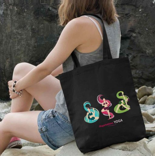 Tote Bag with Tree Revolved Triangle Matsyendrasana poses