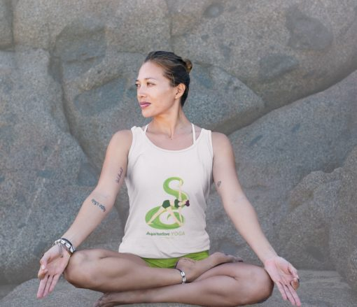 White Yoga Inspiration Shirt Revolved Triangle Pose