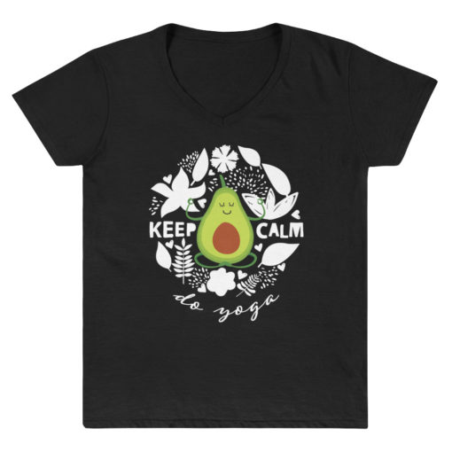 Black Yoga Shirt with Avocado